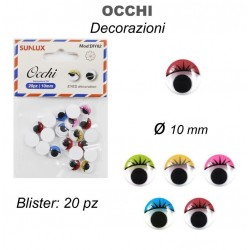 Occhi decorativi 20pz 10mm...