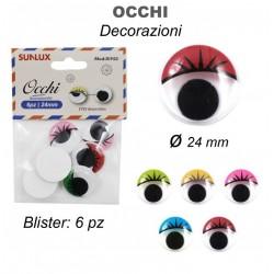 Occhi decorativi 6pz 24mm -...