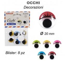 Occhi adesivi 8pz 20mm -...