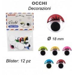 Occhi Decorativi 12pz 18mm...