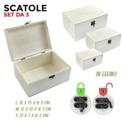 Set da 3 scatole in legno...