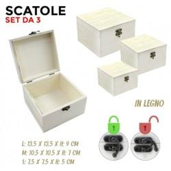 Set da 3 scatole in legno a...