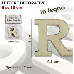 Lettera R decorativa in Legno - 6pz 5x4,5x0,2 cm (per decorazioni o da verniciare)
