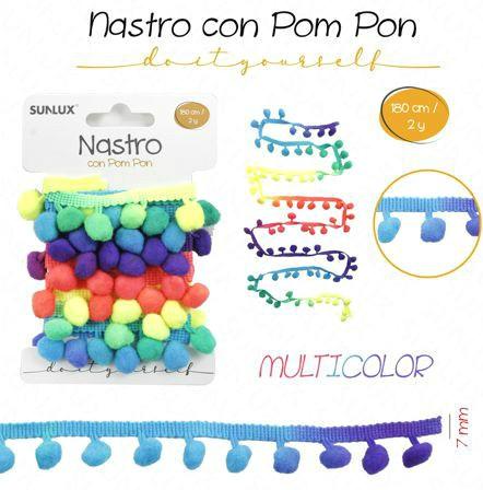 Nastro con Pompon Multicolor 180 cm