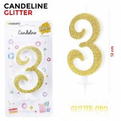 Candeline Glitter Oro N.3...