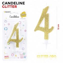Candeline Glitter Oro N.4...