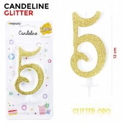 Candeline Glitter Oro N.5...