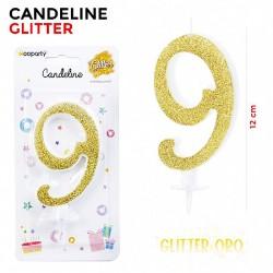 Candeline Glitter Oro N.9...