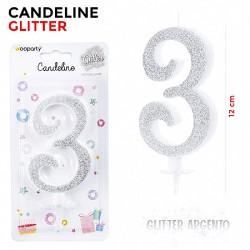 Candeline Glitter Argento...