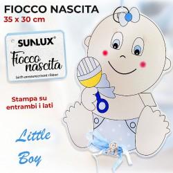 Fiocco per nascita boy stampa su entrambi i lati 35x30cm