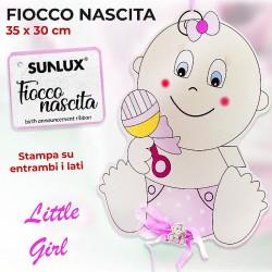 Fiocco per nascita girl stampa su entrambi 35x30cm