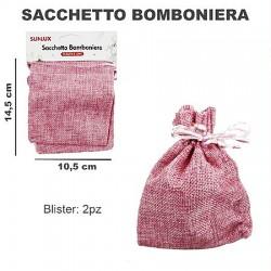 Sacchetto bomboniere 2pcs rosa 14x10cm