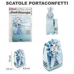 Scatola portaconfetti in cartone baby celeste 2pc-6,5x3,5x10cm