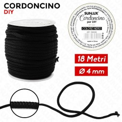 Cordoncino diy 4mm x 18mt nero
