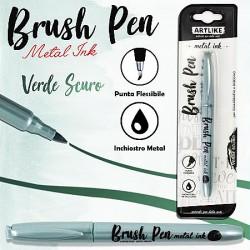 Brush pen calligrafia verde scuro metal