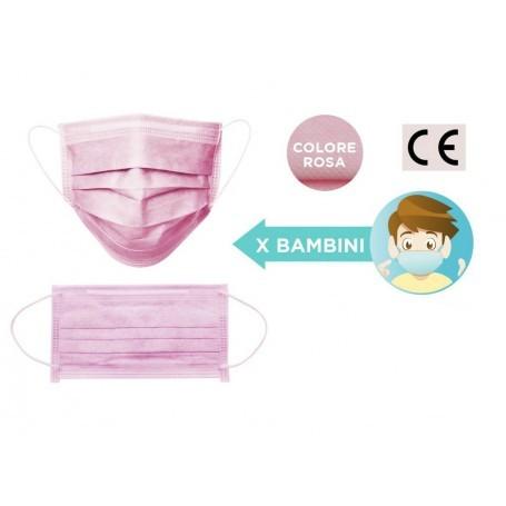 Mascherina chirugica monouso per bambini colore rosa chiara 10pz