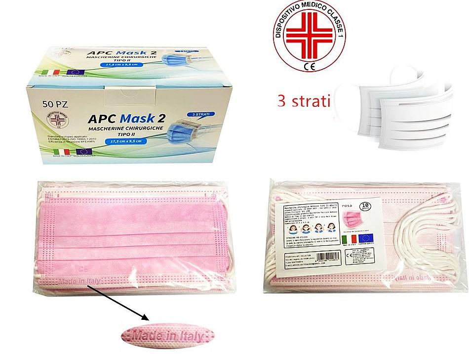 Mascherina chirugica monouso per adulti 10pz rosa