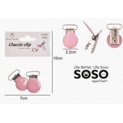 Clip ciuccio 2.5cm 2pz rosa