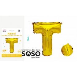 Palloncino mylar oro lettera t h.40cm - 1
