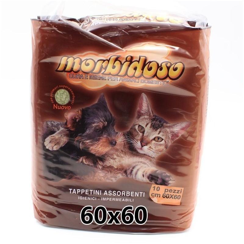 Morbidoso tappetini igienici impermeabili per animali domestici 60x60cm (10pz)