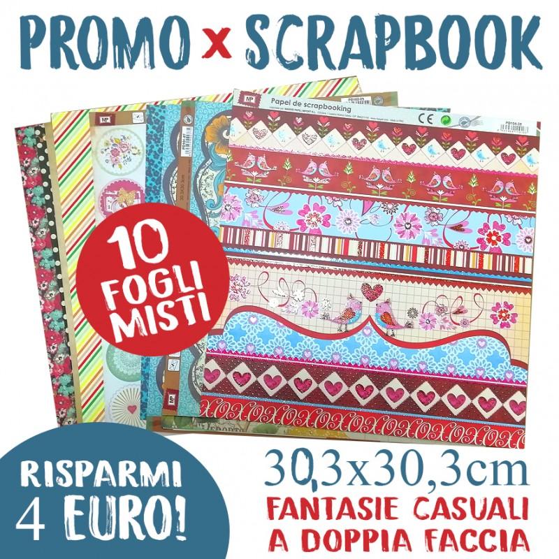 10 FOGLI in promozione Carta Scrapbook 30,3x30,3cm doppia faccia